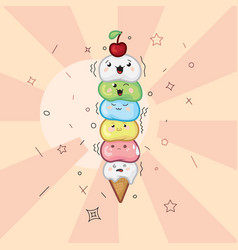 ice cream waffle cone kawaii funny face on a light vector image vector image