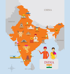 India map and icons with people in traditional vector
