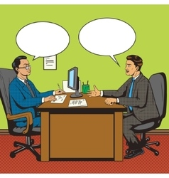 Men in office talk pop art retro style vector