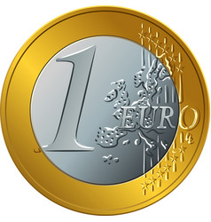 money gold coin one euro vector image vector image