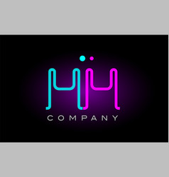 Neon lights alphabet mm m m letter logo icon vector