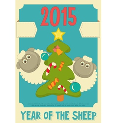 New Year Card with Cute Cartoon Sheep vector image vector image