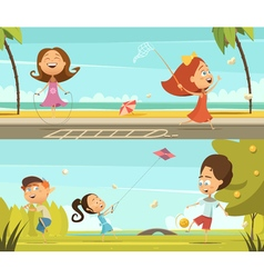 Playing kids banners set vector