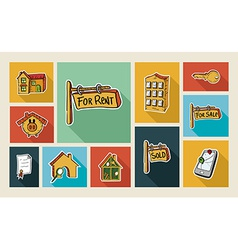 Real estate sketch style flat icon set vector