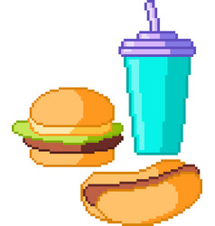 Set of food icons in pixel style vector