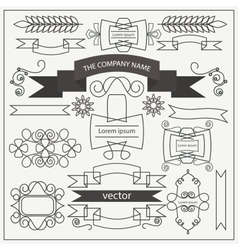 Set retro pattern elements ribbons curls frames vector image