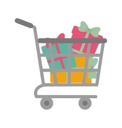Shopping cart online boxes gift presents vector