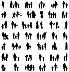 silhouettes of families vector image vector image
