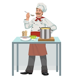 smiling chef with soup vector image vector image