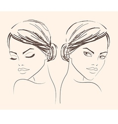 Two portraits of a girl for fashion salon banner vector image vector image