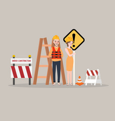 under construction page man woman worker on vector image vector image