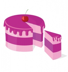 vector sliced pink cake vector image vector image