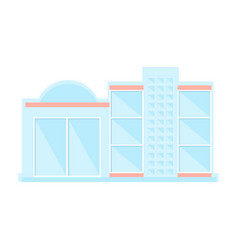 Whole glass shopping mall modern building exterior vector
