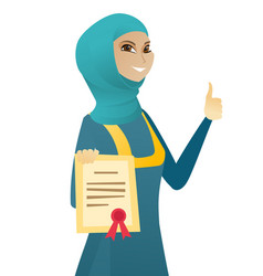 Young muslim business woman holding a certificate vector