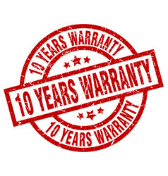 10 years warranty round red grunge stamp vector