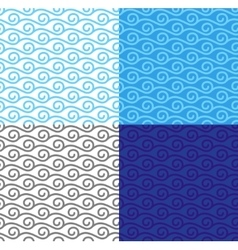 Curly linear waves seamless pattern set vector