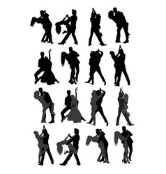 Dancing couple silhouette vector