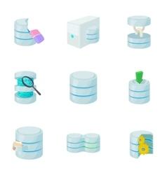 Data cloud icons set cartoon style vector