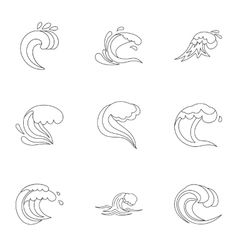 Sea waves icons set outline style vector