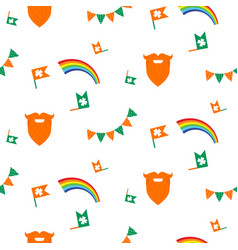Red beard rainbow and bunting seamless pattern vector