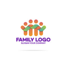 family logo consisting of simple happy figures vector image