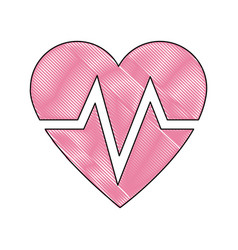 Drawing heart beat health care medical vector