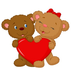 Bear couple cartoon holding red heart shape vector