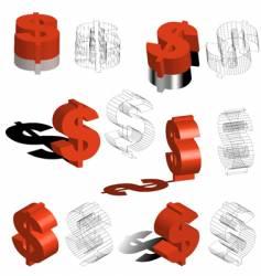 3d symbols dollars vector
