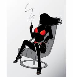 Sexy smoking woman vector