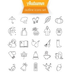 Autumn halloween and back to school outline icons vector image