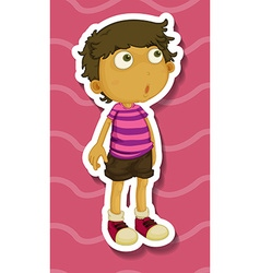 Sticker of a boy standing vector