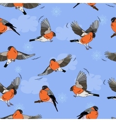 Bullfinches in flight pattern seamless vector