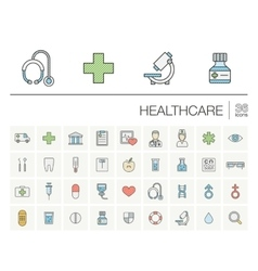 Medicine and healthcare color icons vector