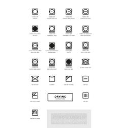 Laundry washing symbols icon set vector