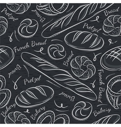 Black blackboard with different breads vector