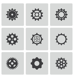 black gear icons set vector image