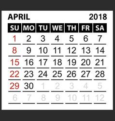 Calendar sheet april 2018 vector