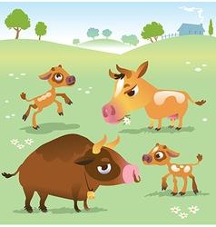 Cartoon cow set cows bull and calf bull vector