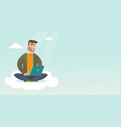 caucasian man using cloud computing technologies vector image vector image