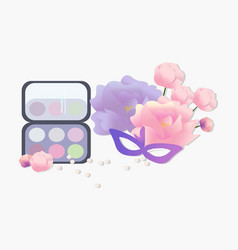 Cosmetics set floral perfume collection vector
