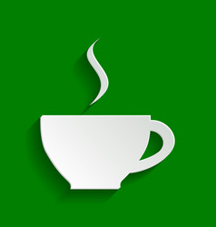 Cup sign with one small stream of smoke vector
