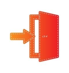 Door Exit sign Orange applique isolated vector image