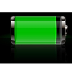 Glossy transparent battery icon green vector
