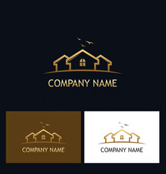 gold house realty logo vector image vector image