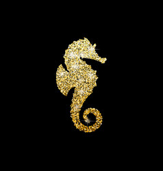 golden glitter seahorse on black background vector image vector image