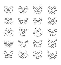 halloween face thin line icon set editable stroke vector image