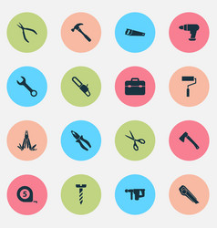 Handtools icons set collection of handsaw cutter vector