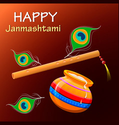 happy krishna janmashtami greeting post card easy vector image