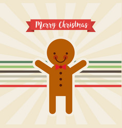 Happy merry christmas ginger cookie character vector