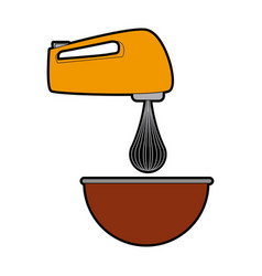 Kitchen electric mixer bowl preparation food vector